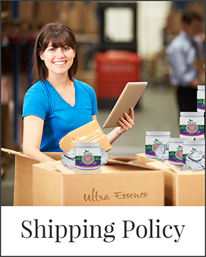 Shipping Policy | Ultra Essence natural skin care products, with anti aging benefits, are specially formulated to moisturize dry skin for radiant milky-soft skin.