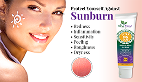 Sunburn | Ultra Essence natural skin care products, with anti aging benefits, are specially formulated to moisturize dry skin for radiant milky-soft skin.