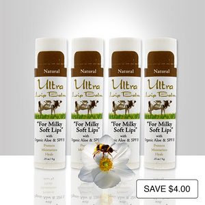 Ultra Lip Balm 4-Pack natural flavor restores dry, cracked lips to soft and supple and contain SPF 15 sunscreen to protect your lips from sun damage.