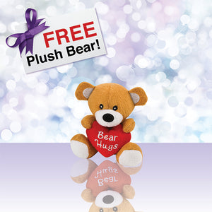"Free plush 4.5"" tall Birthday Bear included in our 6-piece Premium Skin Care Gift Collection. This Bear Hug will make the perfect birthday gift for that special someone in your life!"