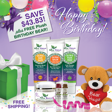 Load image into Gallery viewer, Our 6-Piece Premium Skincare Gift Collection comes with 6 Ultra Essence skin care products, including our signature Ultra Balm moisturizer (unscented), for gorgeous, ageless, healthy skin. And, it comes with a FREE plush Birthday Bear!