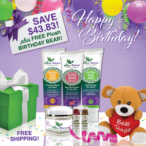 Our 6-Piece Premium Skincare Gift Collection comes with 6 Ultra Essence skin care products, including our signature Ultra Balm moisturizer (unscented), for gorgeous, ageless, healthy skin. And, it comes with a FREE plush Birthday Bear!