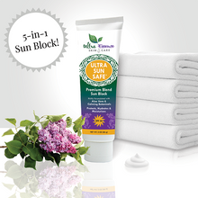 Load image into Gallery viewer, Ultra Sun Safe 3 oz. tube is the best SPF 30 broad spectrum sunblock richly formulated with aloe vera and calming botanicals to effectively protect your skin from both UVA and UVB rays. Ultra Sun Safe is water resistant, non-greasy and safe for baby and kids.