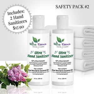 Ultra Hand Sanitizer 62% alcohol to kill most types of bacteria, viruses and fungi, made in the USA