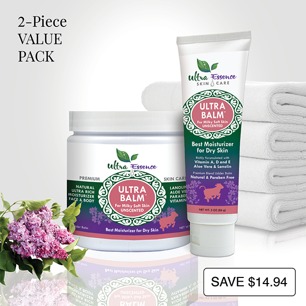 Unscented Ultra Balm 16 oz. Jar and convenient 3 oz. travel size tube are the best natural, daily moisturizers for all skin types to give you milky soft skin.