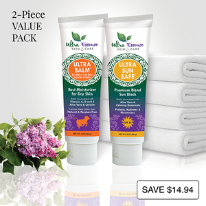 Lemon scented Ultra Balm 3 oz. tube is the best natural, daily moisturizer for all skin types to give you milky soft skin. Ultra Sun Safe 3 oz. tube is the best SPF 30 broad spectrum sunblock richly formulated with aloe vera and calming botanicals to effectively protect your skin from both UVA and UVB rays. Ultra Sun Safe is water resistant, non-greasy and safe for baby and kids.
