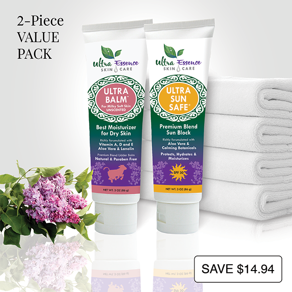 Unscented Ultra Balm 3 oz. tube is the best natural, daily moisturizer for all skin types to give you milky soft skin. Ultra Sun Safe 3 oz. tube is the best SPF 30 broad spectrum sunblock richly formulated with aloe vera and calming botanicals to effectively protect your skin from both UVA and UVB rays. Ultra Sun Safe is water resistant, non-greasy and safe for baby and kids.