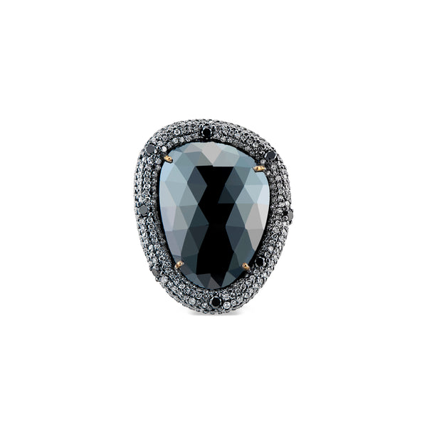 Frances, Black Spinel and Diamond Ring