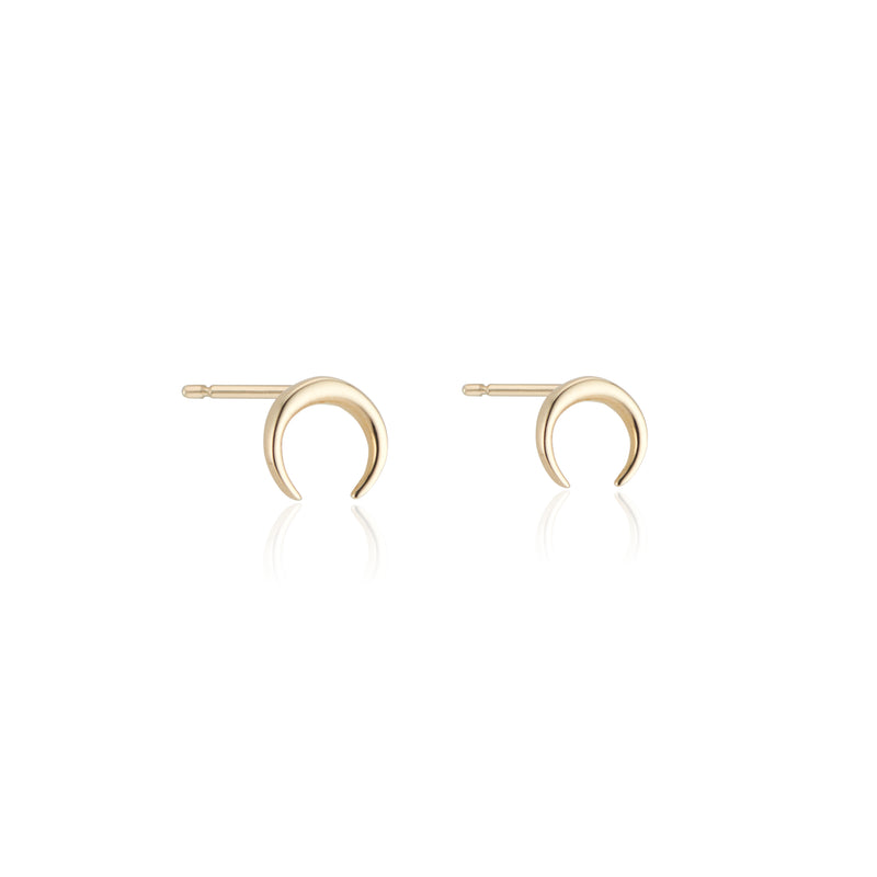 Crescent Moon ,Studs 14k Gold