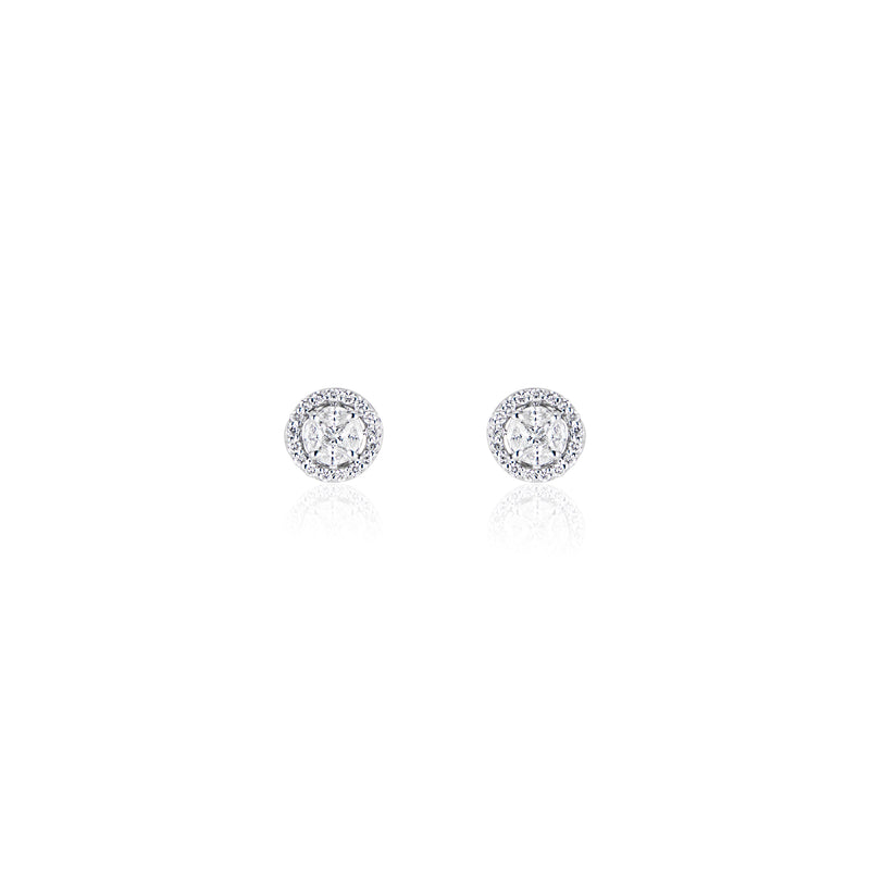 Beatrice, Illusions Halo Diamond Earrings