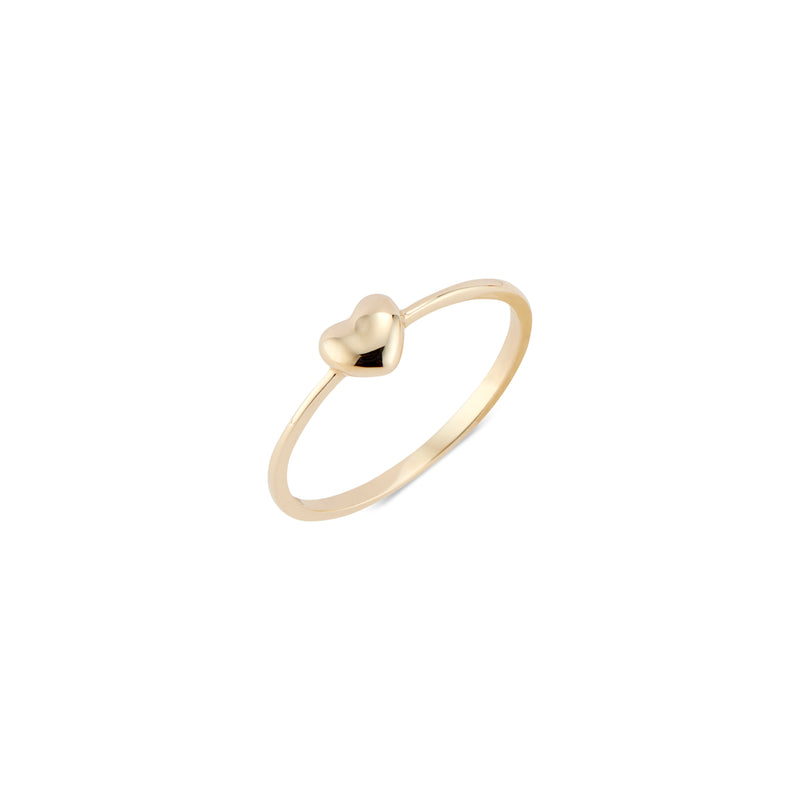 14k Gold Puffy Heart Ring