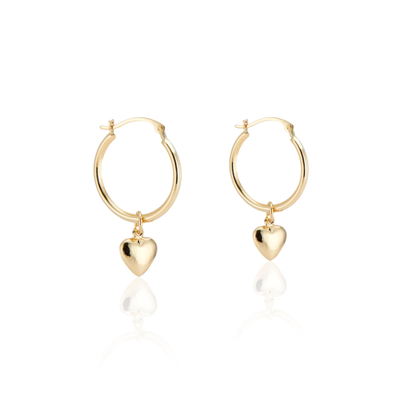 14k Gold Puffy Heart Hoops
