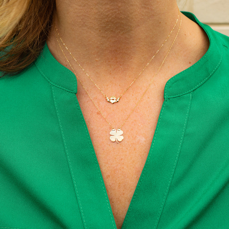 Lucky Clover Necklace, 14k Gold