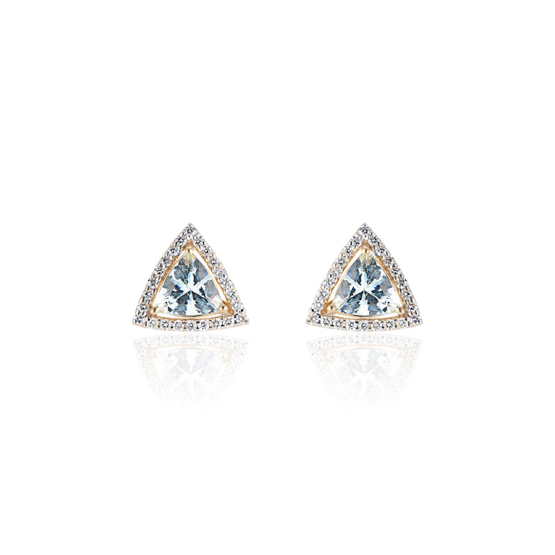 Azure, Aquamarine and Diamond Studs