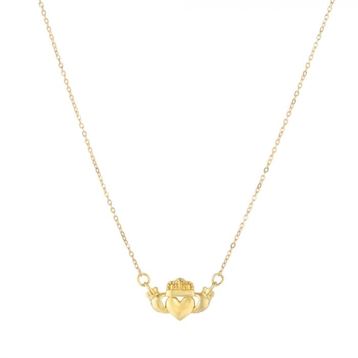Claddagh Necklace, 14k Gold