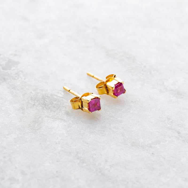 Dorothy, Square Ruby Studs