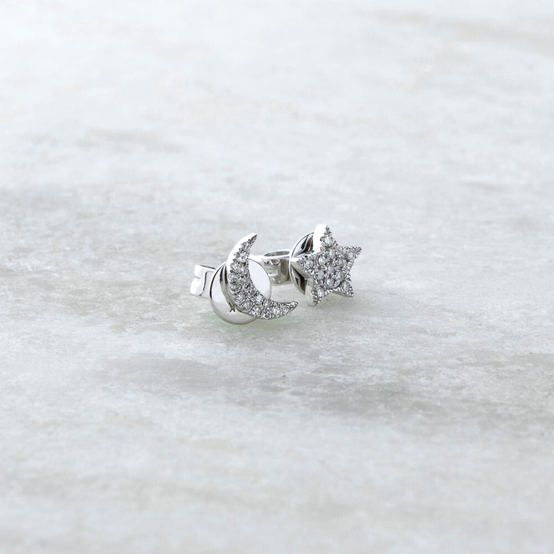 Ella, Star Moon Diamond Studs