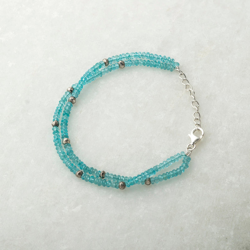 Apatite and Pyrite Double Bracelet