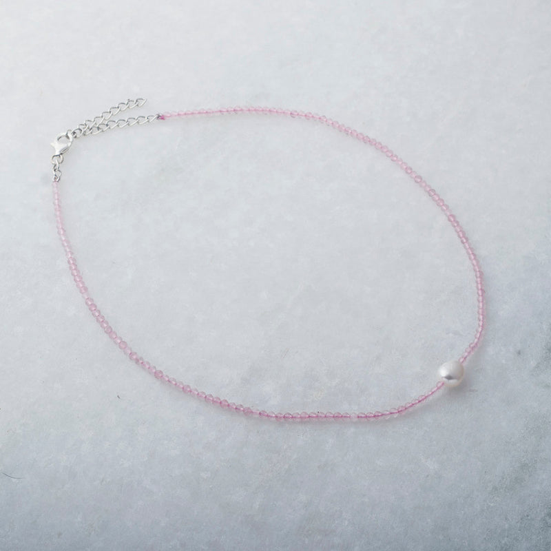 Amina,Rose Quartz and Pearl Choker