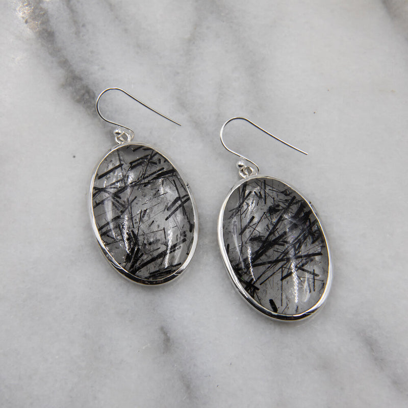 Inca, Tourmalinated Quartz Earrings
