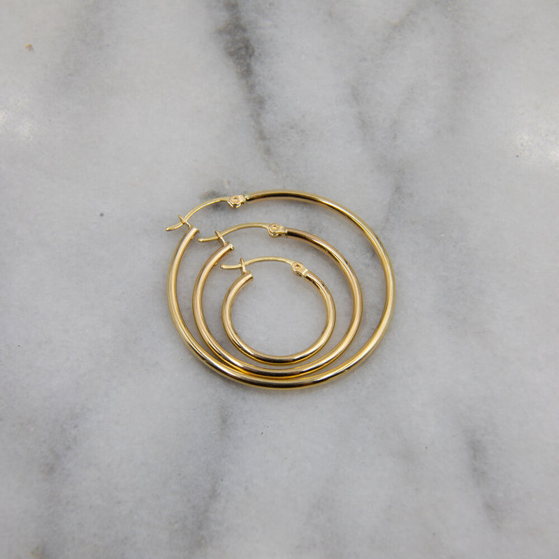 Classic Hoops, 14k Gold