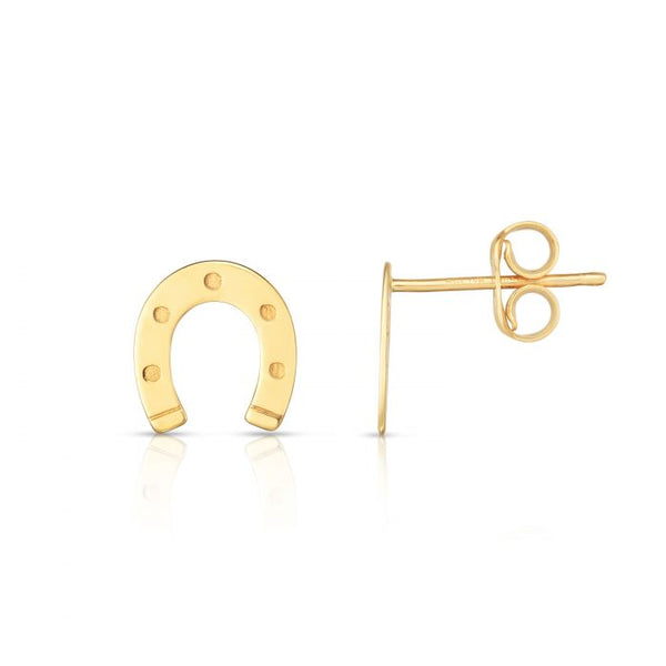 Horse Shoe, 14k Gold Studs