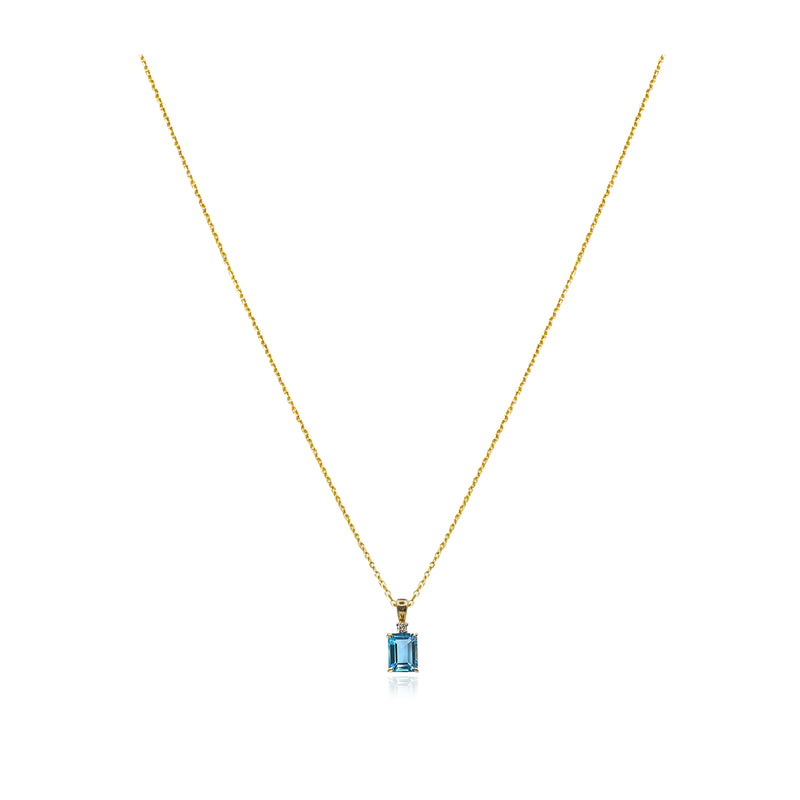 Maren Blue Topaz and Diamond Charm Necklace