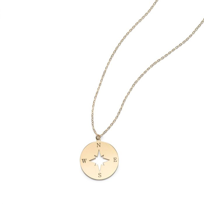 Gladys Compass Necklace, 14k Gold