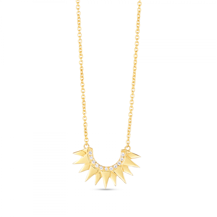 Surya Necklace, 14k Gold and Diamonds