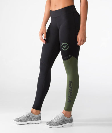 VIRUS / Women's Stay Cool V2 Compression Pants BLACK/OLIVE GREEN (ECO21) レディース コンプレッションパンツ
