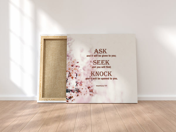 """Ask, Seek, Knock"" Canvas Wraps"