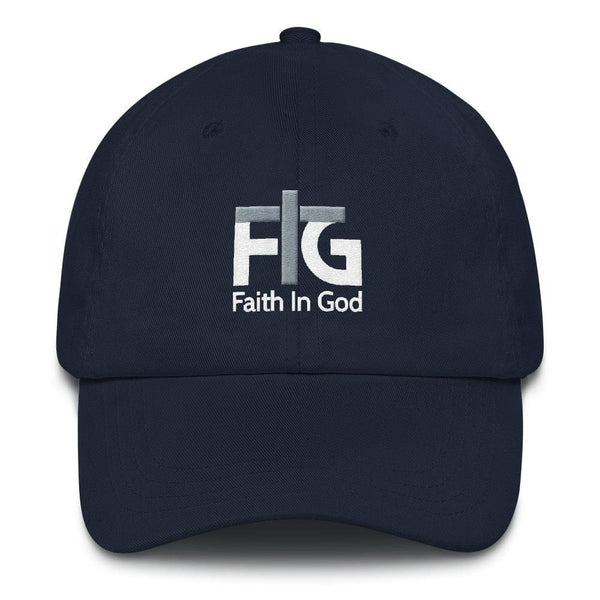 Dad Hat Faith In God 2 White Unisex - Navy
