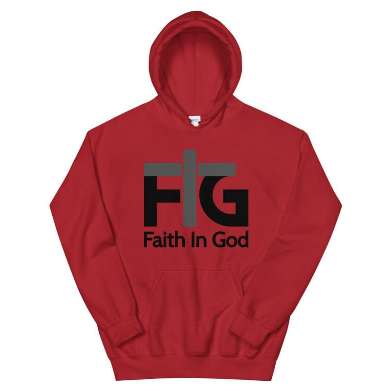 Hoodie Faith in God 2 Black Unisex - Red / S