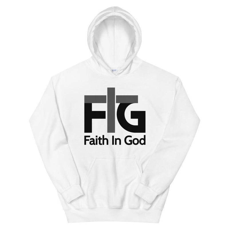 Hoodie Faith in God 2 Black Unisex - White / S