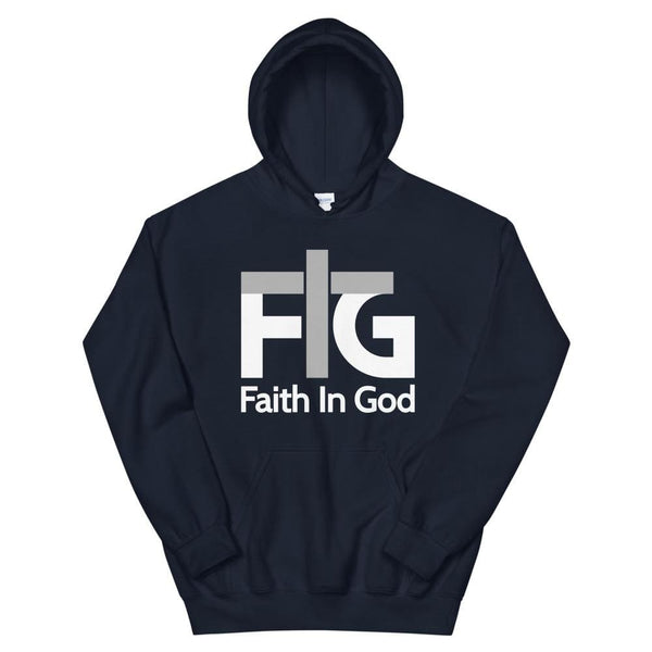 Hoodie Faith in God 2 White Unisex - Navy / S