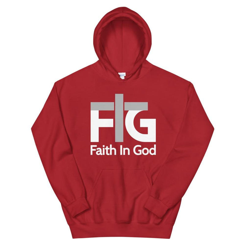 Hoodie Faith in God 2 White Unisex - Red / S