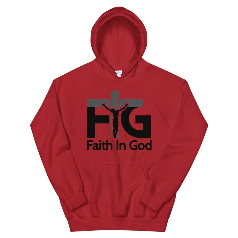 Hoodie Faith in God 3 Black Unisex - Red / S