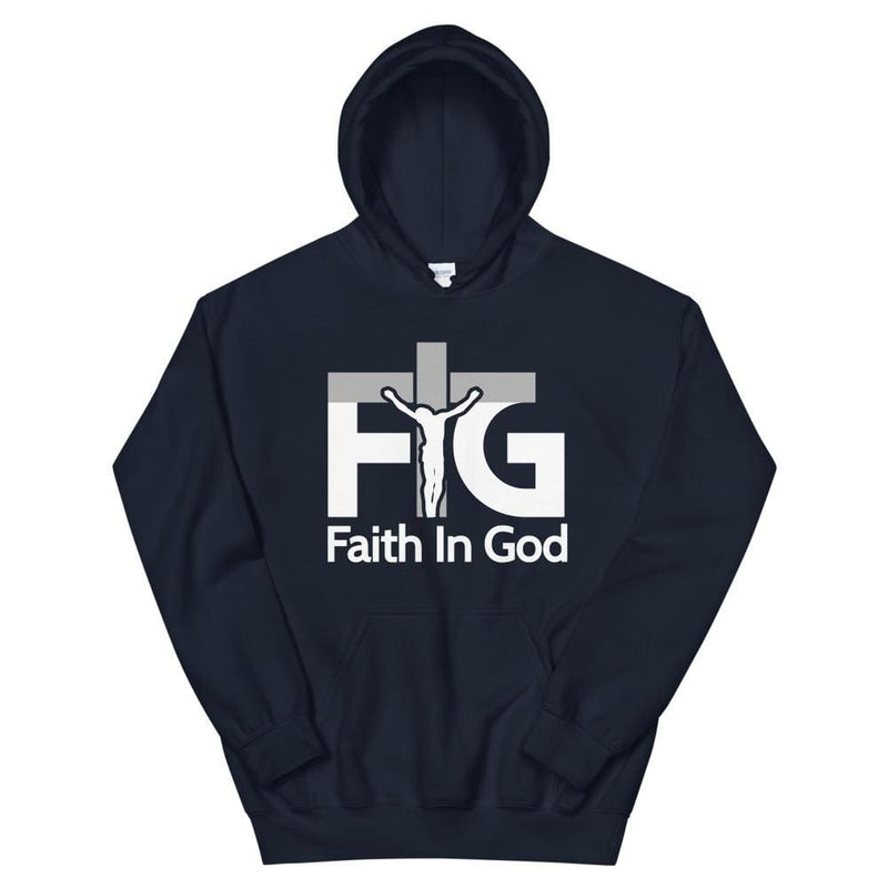 Hoodie Faith in God 3 White Unisex - Navy / S
