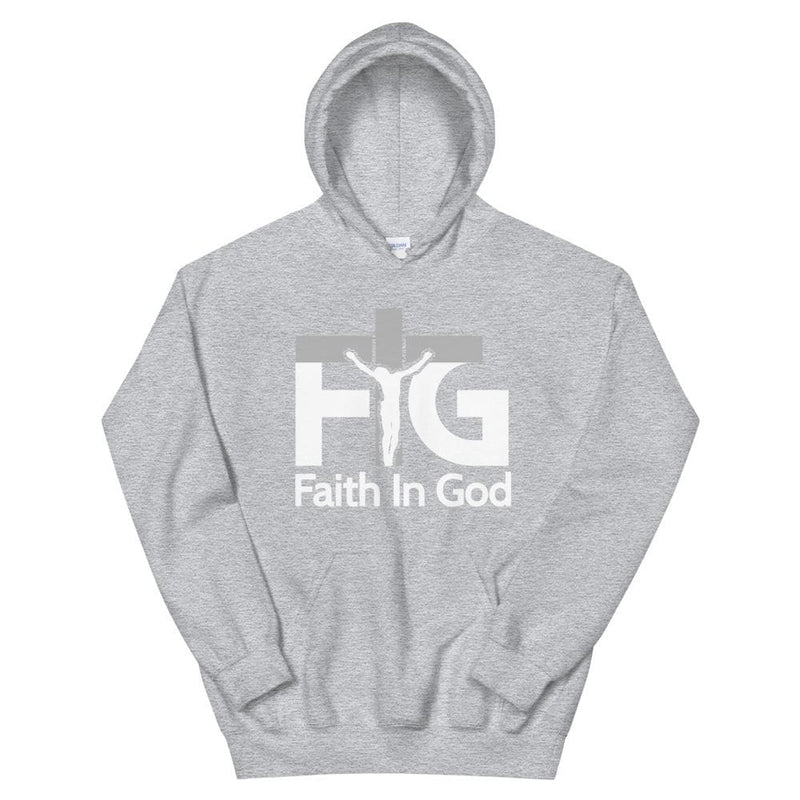Hoodie Faith in God 3 White Unisex - Sport Grey / S