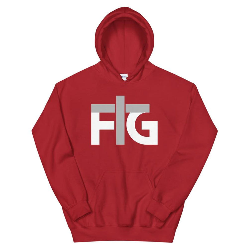 Hoodie FIG 2 White Unisex - Red / S