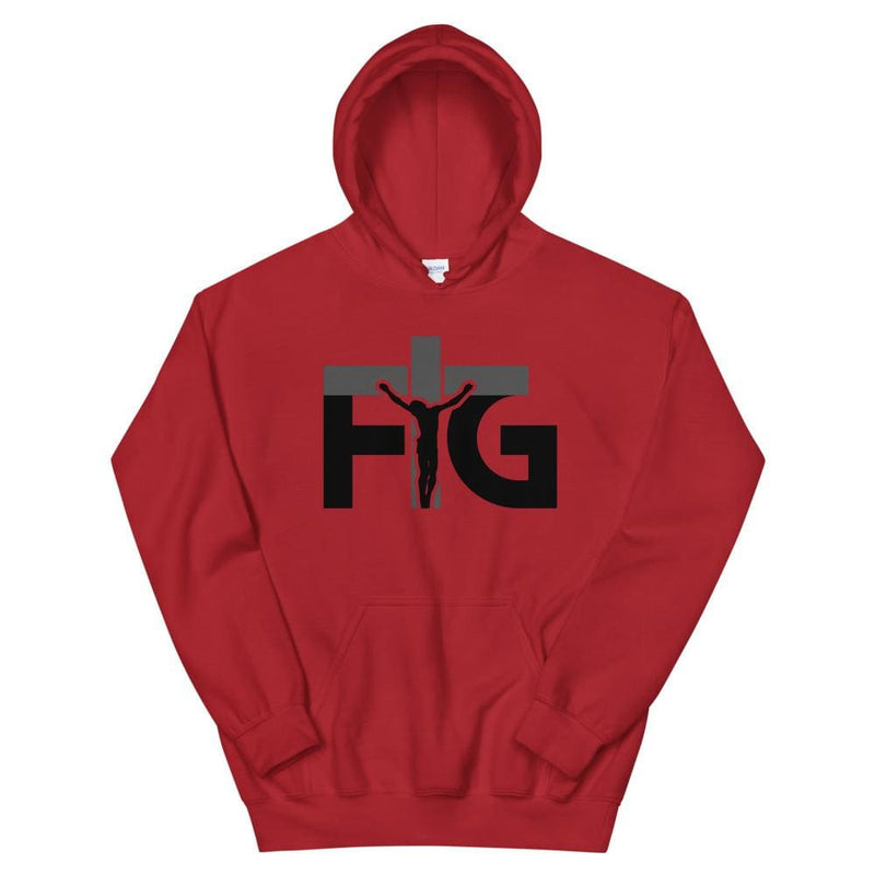 Hoodie FIG 3 Black Unisex - Red / S