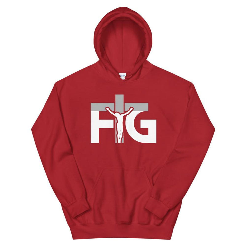 Hoodie FIG 3 White Unisex - Red / S