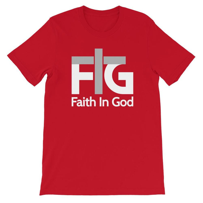 Short-Sleeve T-Shirt Faith in God 2 White Unisex - Red / S