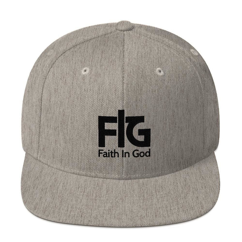 Snapback Hat Faith in God 2 Black Unisex - Heather Grey
