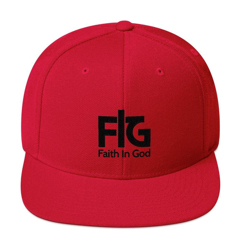 Snapback Hat Faith in God 2 Black Unisex - Red