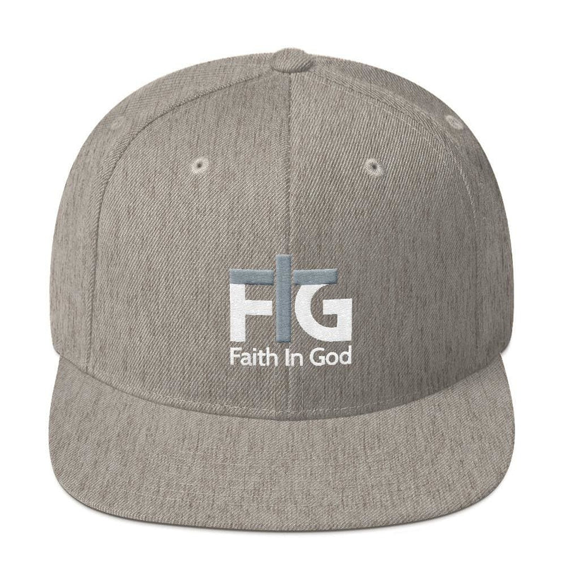 Snapback Hat Faith in God 2 White Unisex - Heather Grey