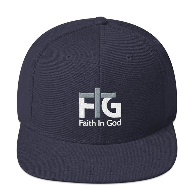 Snapback Hat Faith in God 2 White Unisex - Navy