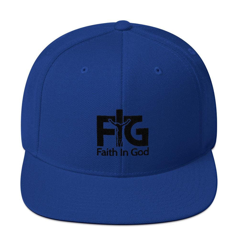 Snapback Hat Faith in God 3 Black Unisex - Royal Blue