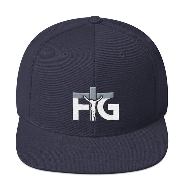 Snapback Hat FIG 3 White Unisex - Navy