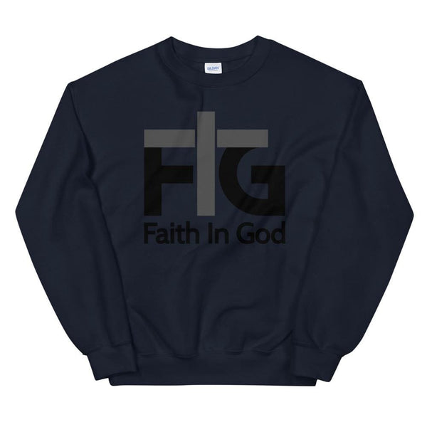 Sweatshirt Faith in God 2 Black Unisex - Navy / S